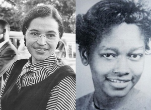 Rosa Parks, left, and Claudette Colvin. Parks photo from Ebony via Wikipedia Commons.