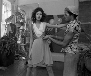 12 Apr 1971, New York, New York, USA --- Fashion designer Stephen Burrows during a fitting with model Pat Cleveland in his East Village studio. --- Image by © CondÈ Nast Archive/Corbis